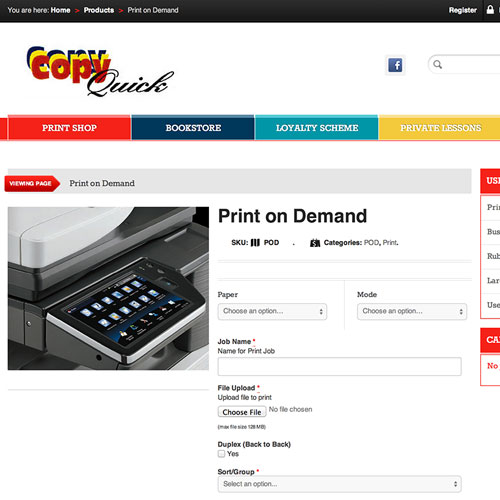 Copy Quick Online print on demand order online
