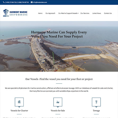 Harmony Marine Shipbrokers web development / web design