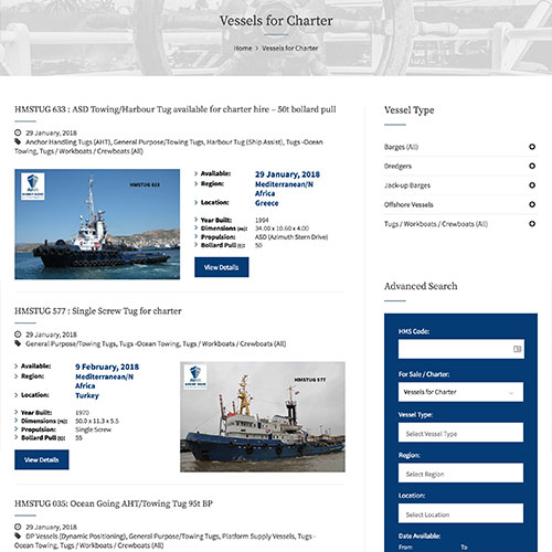 Harmony Marine Shipbrokers website development and design