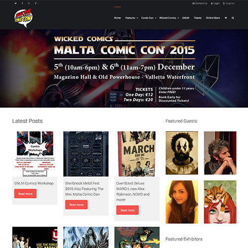 Malta Comic Con web development / web design