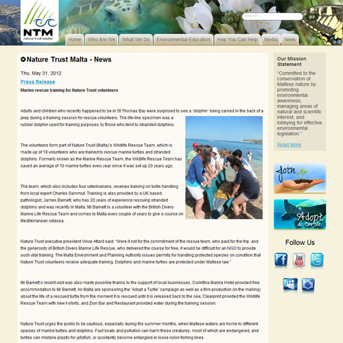 Nature Trust Malta web development / web design