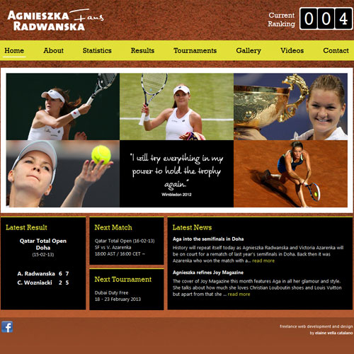 Radwanska Fans web development / web design